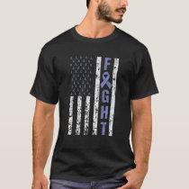 Stomach Cancer Awareness American Flag USA Team No T-Shirt