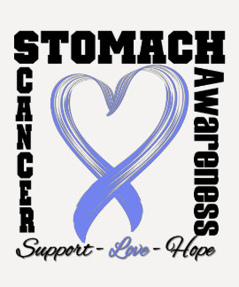 Stomach Cancer Awareness Brushed Heart Ribbon v1 Tee Shirt