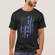 Stomach Cancer Awareness Fight American Flag Gifts T-Shirt