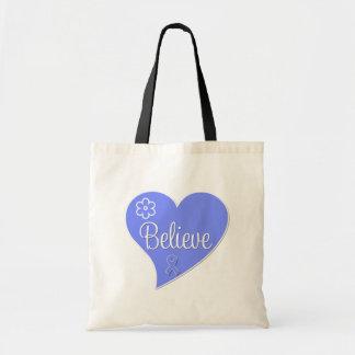 Stomach Cancer Believe Heart Canvas Bag