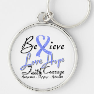 Stomach Cancer Believe Heart Collage Key Chains