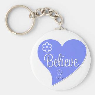 Stomach Cancer Believe Heart Keychain
