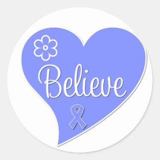 Stomach Cancer Believe Heart Round Sticker