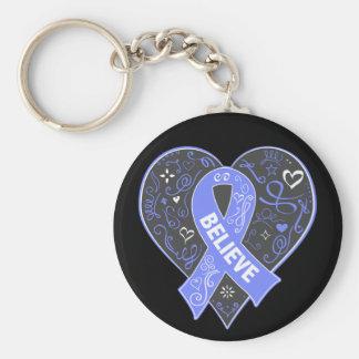 Stomach Cancer Believe Ribbon Heart Basic Round Button Keychain