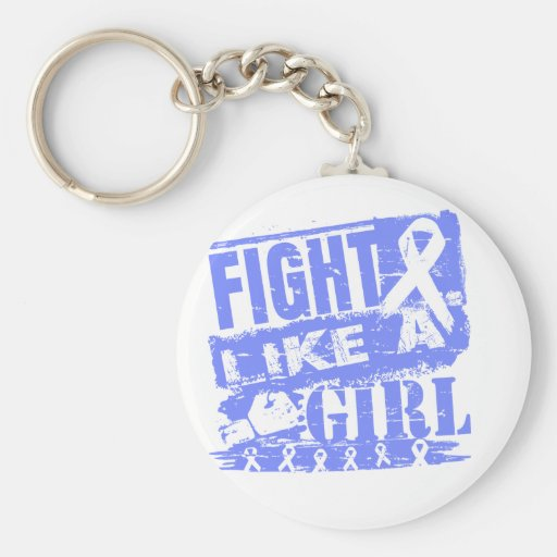 Stomach Cancer BurnOut Fight Like a Girl Keychains