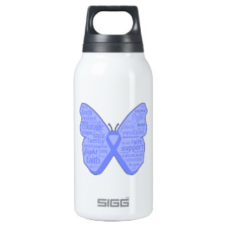 Stomach Cancer Butterfly Collage of Words 10 Oz Insulated SIGG Thermos Water Bottle