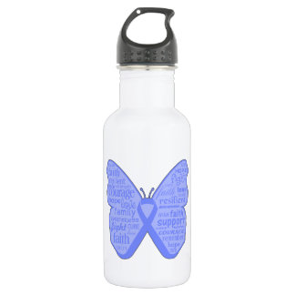 Stomach Cancer Butterfly Collage of Words 18oz Water Bottle