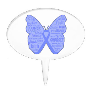 Stomach Cancer Butterfly Collage of Words Cake Toppers