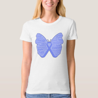 Stomach Cancer Butterfly Collage of Words Tshirt