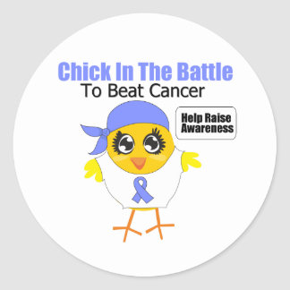 Stomach Cancer Chick In the Battle to Beat Cancer Classic Round Sticker