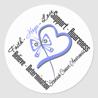 Stomach Cancer Faith Hope Love Butterfly Round Stickers