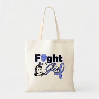 Stomach Cancer Fight Like A Girl - Retro Girl Budget Tote Bag