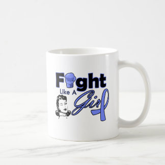 Stomach Cancer Fight Like A Girl - Retro Girl Classic White Coffee Mug