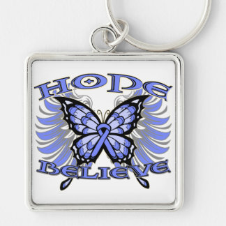 Stomach Cancer Hope Believe Butterfly Key Chain