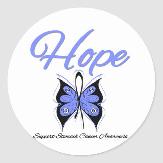 Stomach Cancer Hope Butterfly Ribbon Round Stickers