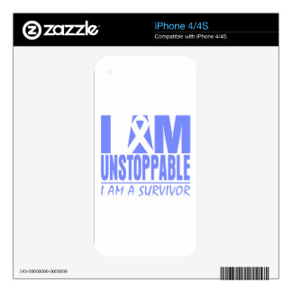 Stomach Cancer I Am Unstoppable Decal For iPhone 4