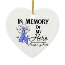 Stomach Cancer In Memory of My Hero Ceramic Ornament