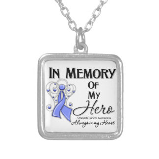 Stomach Cancer In Memory of My Hero Square Pendant Necklace