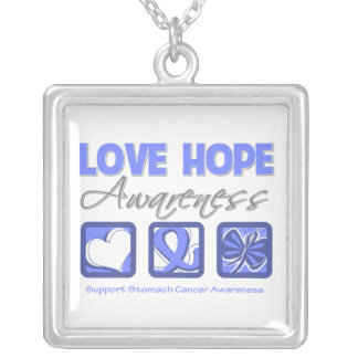 Stomach Cancer Love Hope Awareness Square Pendant Necklace