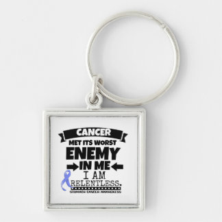 Stomach Cancer Met Its Worst Enemy in Me Silver-Colored Square Keychain