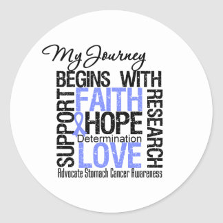 Stomach Cancer My Journey Begins With FAITH Round Stickers