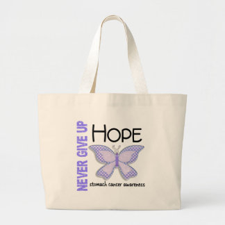 Stomach Cancer Never Give Up Hope Butterfly 4.1 Large Tote Bag