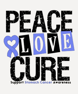 Stomach Cancer Peace Love Cure T Shirt