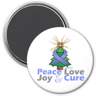 Stomach Cancer Peace Love Joy Cure 3 Inch Round Magnet