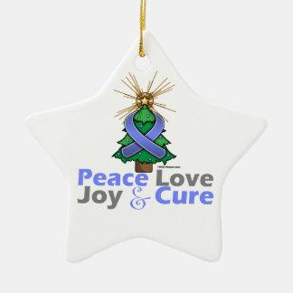 Stomach Cancer Peace Love Joy Cure Ceramic Ornament