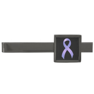 Stomach Cancer Periwinkle Ribbon Gunmetal Finish Tie Clip