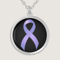 Stomach Cancer Periwinkle Ribbon Silver Plated Necklace