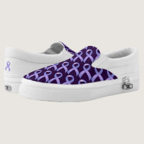 Stomach Cancer Periwinkle Ribbon Slip-On Sneakers