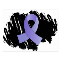 Stomach Cancer Periwinkle Ribbon With Scribble Postcard