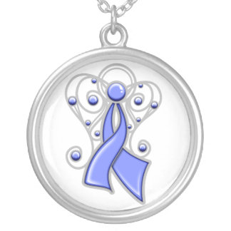 Stomach Cancer Ribbon Angel In Memory Round Pendant Necklace