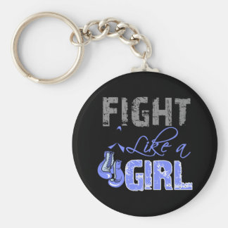 Stomach Cancer Ribbon Gloves Fight Like a Girl Key Chain