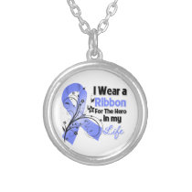 Stomach Cancer Ribbon Hero in My Life Silver Plated Necklace