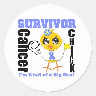 Stomach Cancer Survivor Chick Ribbon Classic Round Sticker