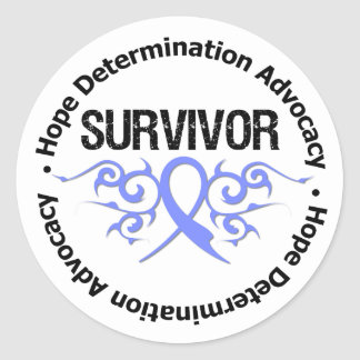 Stomach Cancer Survivor Tribal Ribbon Stickers