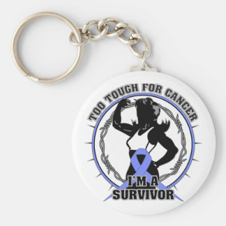 Stomach Cancer Too Tough For Cancer Basic Round Button Keychain