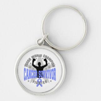 Stomach Cancer Tough World Champion Survivor Silver-Colored Round Keychain