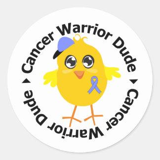 Stomach Cancer Warrior Dude Classic Round Sticker