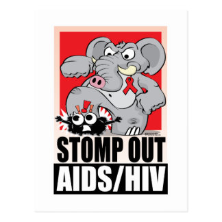 Stomp Out AIDS/HIV Postcard
