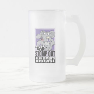 Stomp Out Alzheimer's Disease Frosted Glass Beer Mug