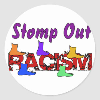 Stomp Out Racism Classic Round Sticker