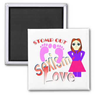 Stomp Out Sexism Love Women 2 Inch Square Magnet