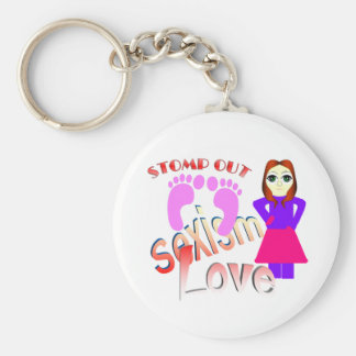 Stomp Out Sexism Love Women Basic Round Button Keychain