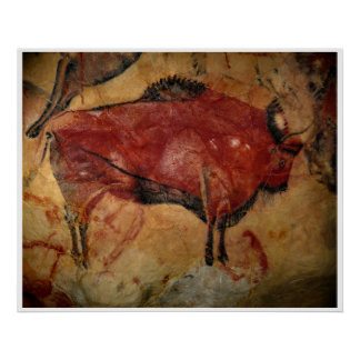 Stone Age Altamira Bison Buffalo Art Poster