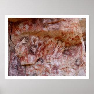 Stone Age Hand prints Art Poster