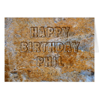 Stone Age Happy Birthday Phil Card