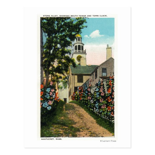 Stone Alley View of South Tower and Town Clock Postcard